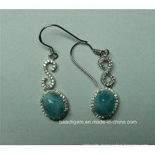 Natural Larimar Sterling Silver Earrings (E0164)