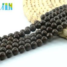 L-0572 copo de nieve de 4-10 mm redondo liso granos de piedras preciosas naturales marrones para bricolaje
