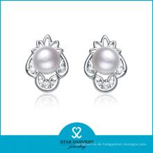 Rhodium überzogene Valentinstag Perle Ohrringe Designs (E-0144)