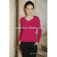 basic v neck women's cashmere OEM sweater