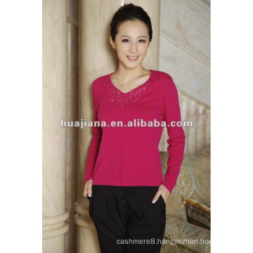 basic v neck women's cashmere OEM sweater