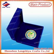 Exquisita plata de aleación de zinc plateado recuerdo de caja de terciopelo moneda