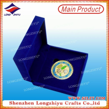 Exquisite Zinc Alloy Silver Plated Souvenir Velvet Box Coin