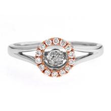 Two Tone Dancing Diamond Ring Jewelry 925 Silver Ring