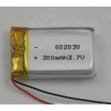 Bateria Li-Polymer recarregável de alta qualidade 602030 300mAh