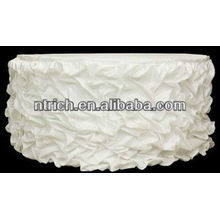 Stacking satin table cloth, ruffled wedding table cloth