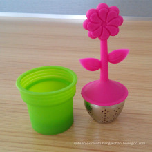 Food Grade Potted Plant Pattern Silicone Tea Leaves Infuser Strainer