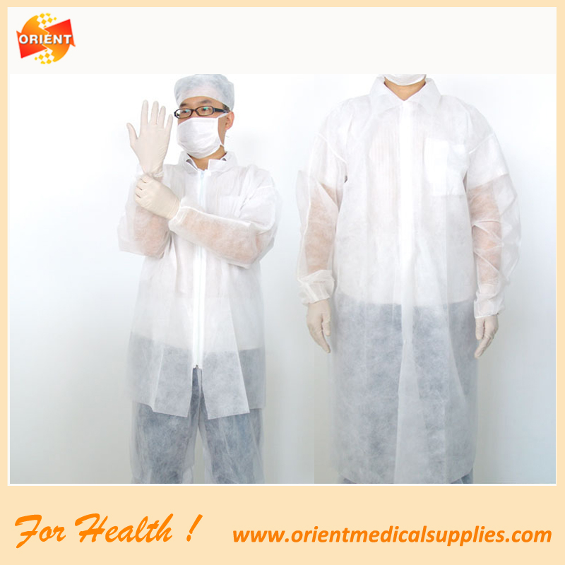 Czyste ubrania ochronne odzież jednorazowa wizyta płaszcz