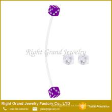 Dados de acrílico claros y púrpuras anillo de botón de vientre cómodo bioflex embarazada