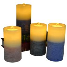 Double Colored Led Flameless Water Fountain Pillar Candles