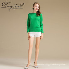 Wholesale Cheap Latest Design Ladies Plain Green Slim Fit Pullover Sweater