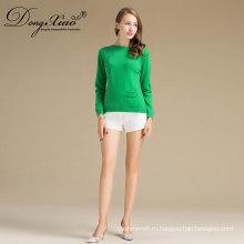 Оптовая Дешевые Последние Дизайн Дамы Обычный Зеленый Приталенный Пуловер Свитер