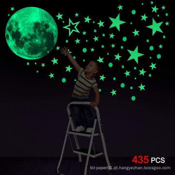 Personalizado decorativo Glow Moon Flat ou 3D Glow no Dark Stars Wall Sticker