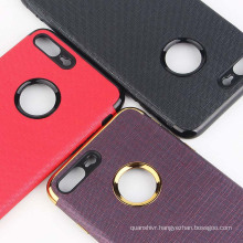 2017 newest electroplate color with PU leather phone case for iphone 7 plus