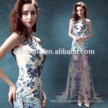Blaues weißes ärmelloses Schatzspitze-Tulle Hochzeits-Kleid und Partei-Kleid