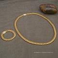 14 MM 30 Polegadas de Ouro Enchido Micro Pave CZ Aço Inoxidável Cuban Colar Pulseira Cadeia Conjunto