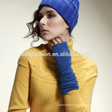 Fashion winter long elbow women cashmere argyle pattern knit fingerless gloves