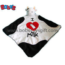 "15""Super Soft Plush Cow Head Style Doudou Stuffed Animal Baby Comforter Blanket"