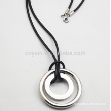 Cheap Silver Plated Stainless Steel Circle Pendants With Pu Leather Cord