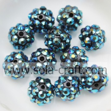 10 * 12MM Dark Blue AB handgemaakte Hot Sale solide Rhinestone Chunky harsparels