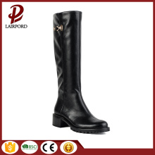 black genuine leather elegant women long boots