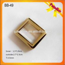 BB-49 Fivelas de cinto de ouro personalizado / fivela quadrada / fivelas decorativas vazamento com logotipo