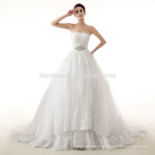 vestido de boda acanalado indonesia del nuevo hombro de la moda del hombro con la cola de la sirena