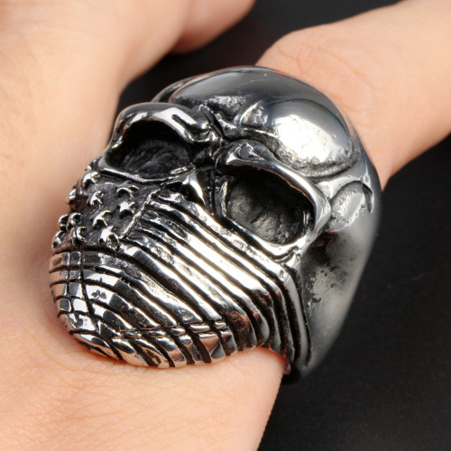 Silver Skull Letter National Flag Ring For Men