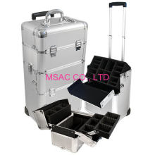 Silver Trolley Aluminum Makeup Cases With Mirror For Makeup Tools