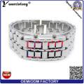 YXL-151 Lava LED montres mode plaqué noir binaire LED Digital montre étanche Womens hommes LED montre-bracelet