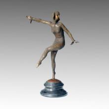 Bailarín de bronce Escultura de jardín Les chica de talla de bronce Estatua TPE-164