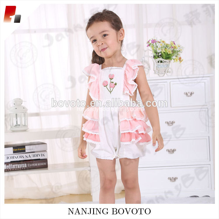 High quality girl summer sleeveless pink hydrangea romper