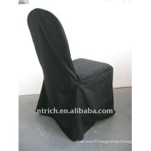 couverture standard de chaise de banquet de couleur noire, matériel de polyester de CTV561, durable et facile à laver