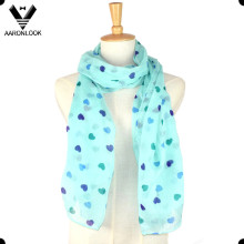 Fashion 100 Polyester Cute Girl Heart Print Scarf