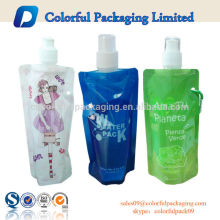 BPA Free Stand Up Spout Pouch for Water / Beverage /Juice Packaging with Cap and Hook