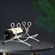 Estante para vino de acero inoxidable con decoración de 2 botellas de metal
