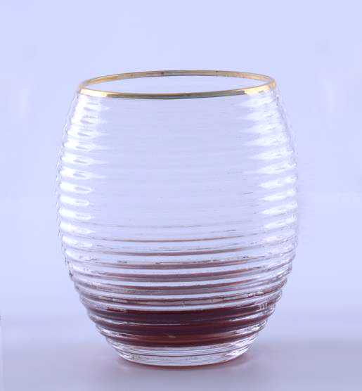 BR-8197Mouth-Blown Gold Rim Glass Tumbler