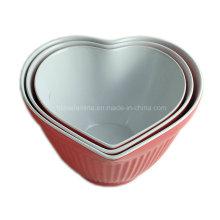 Set de 3 piezas en forma de corazón de melamina bicolor en forma de corazón