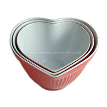 3PCS Bicolor Melamine Heart Shaped Mixing Bowl Set