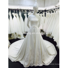 Real Sample A Line 3/4 Long Sleeves Frence Lace Alibaba Wedding Dress Patterns 2016