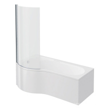 Cruze P Shaped Shower Bath - 1700mm with Screen & Panel