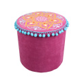 India and Pakistan style red circular cylinder stool