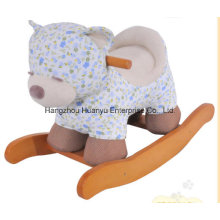 Factory Supply Rocking Animal-Blue Flower Bear Rocker