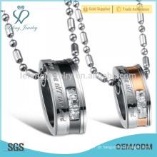 Titânio gravado com colar de pingente de cristal para o amante