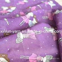La tela de gasa estampada color morado para bufanda de vestir