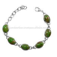 Verde de cobre turquesa de piedras preciosas 925 pulsera de plata de ley