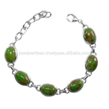 Bracelet en argent sterling 925 en pierres précieuses en cuivre vert et en cuivre