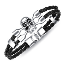 Cheap mens skull braided leather bracelet