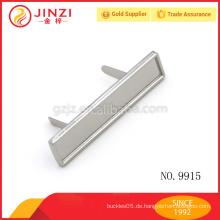 55 * 12mm dünnes langes quadratisches Zinklegierungsmetall-Namensschild, Nickelaufkleber