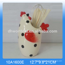 Suporte de utensílios de cerâmica cerâmica personalizada com forma de frango popular